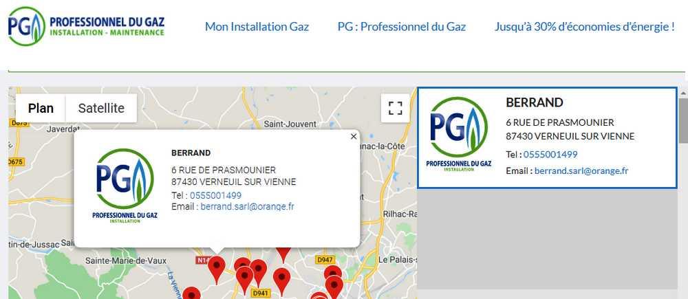 L'entreprise Berrand Sarl est qualifiée PG Professionnel du Gaz
